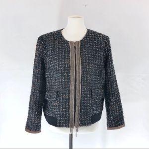 Ann Taylor Loft Black Gray Brown Tweed Jacket